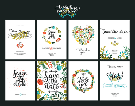 Ilustración de Save the date cards, wedding invitation with hand drawn lettering, flowers and branches. Save the date background. Vector Save the date templates - Imagen libre de derechos