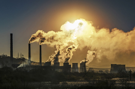 Foto de Factory pipe polluting air, environmental problems - Imagen libre de derechos