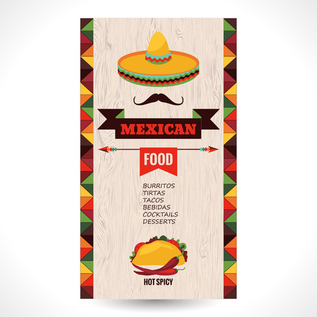 Illustration for Vector design template for Mexican restaurant. - Royalty Free Image