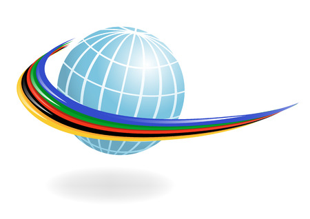 Globe with the colors of the five continents. Vector-Illustration