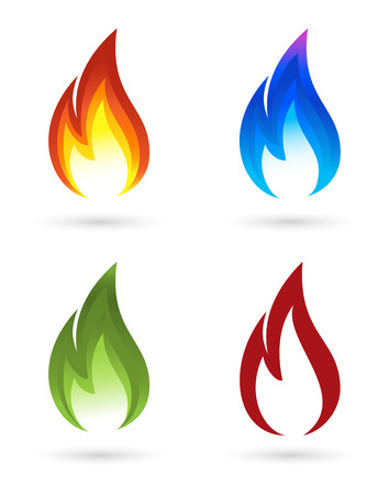 Illustration pour Set of fire icons - image libre de droit