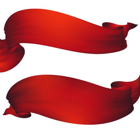 Illustration for Red ribbon banner ,vector set - Royalty Free Image