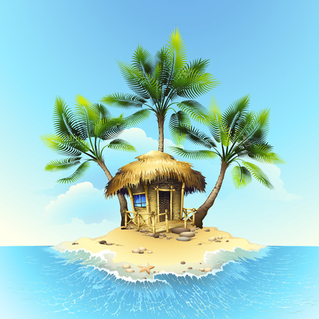 Illustration for Tropical bungalow - Royalty Free Image
