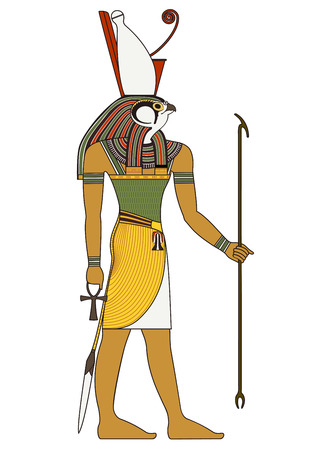 Illustration for Egyptian ancient symbol, isolated figure of ancient egypt deities - Royalty Free Image
