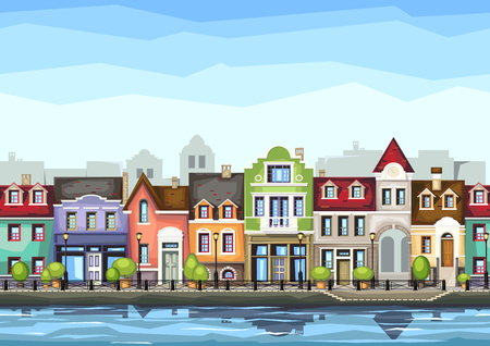 Illustration pour Small town street with coffee shop.illustration of stylized colorfull city landscape.Old town . - image libre de droit