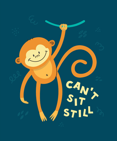Illustration pour Cute little monkey smiling. Text Can't sit still. Animal kingdom set. Super-kawaii and adorable animals. Cartoon character and lettering. Flat illustration for kid's poster, t-shirt and other art. - image libre de droit