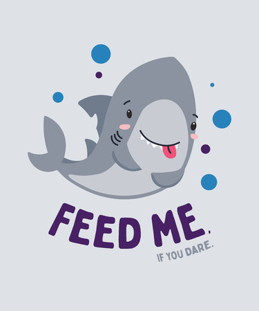 Illustration pour Cute funny little shark smiling nd hungry. Feed me, if you dare. Animal kingdom set. Super-kawaii and adorable. Cartoon character and lettering. Flat illustration for kid's poster, t-shirt,other art - image libre de droit