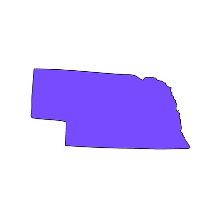 Illustration pour Map of the U.S. state of Nebraska on a white background - image libre de droit