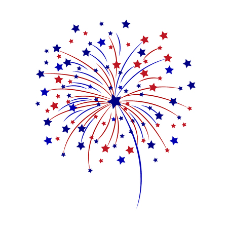 Illustration for Celebratory fireworks on a white background vector illustration. - Royalty Free Image