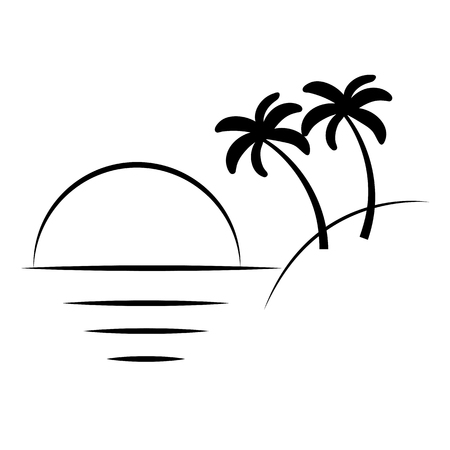 Ilustración de Silhouette of palm trees on the island. Vector illustration isolated white background. - Imagen libre de derechos