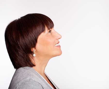 Profile happiness mature woman