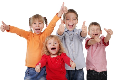 Foto per Happy children showing thumb up  - Immagine Royalty Free