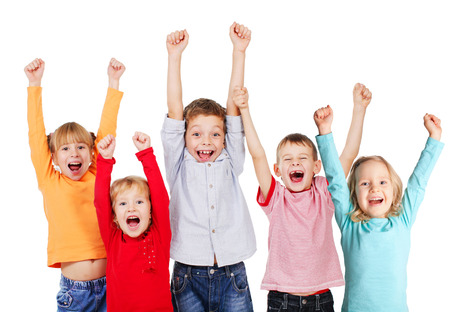 Photo pour Happy children with their hands up isolated on white - image libre de droit