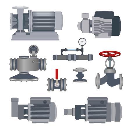 Illustration pour Set- water motor, pump and valves for pipeline. Vector illustration - image libre de droit