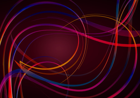 Photo for Black with a red backlighting background,covered with red-blue shades of wavy and swirling rainbow stripes - Royalty Free Image