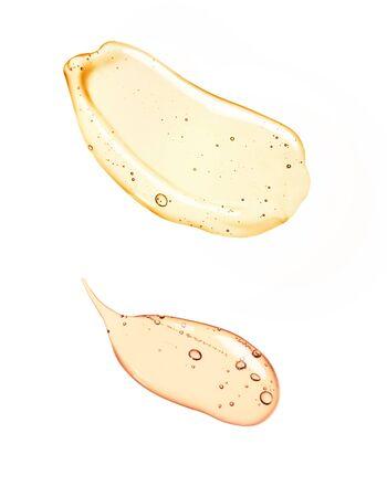 Foto de Liquid gel or serum on a screen of microscope white isolated background - Imagen libre de derechos