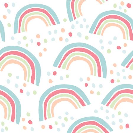 Foto für Kids hand drawn seamless pattern with colorful rainbows. Summer background. Vector illustration. Print for babys design. Scandinavian style - Vector - Lizenzfreies Bild