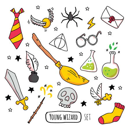 Illustration pour Different magic elements for witches in cartoon style. Vector illustration - Vector - image libre de droit