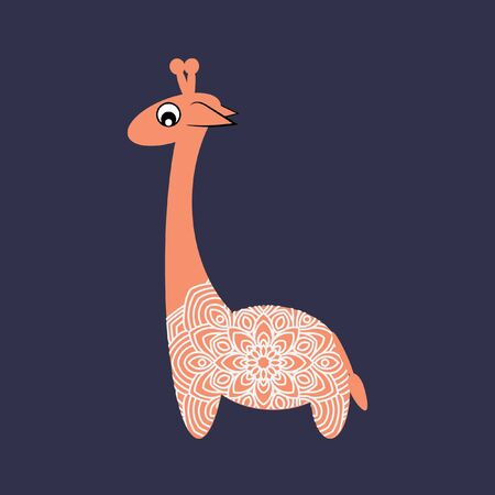 African animals. Little cheerful giraffe toy. Stylized vector illustration. Lace trim.
