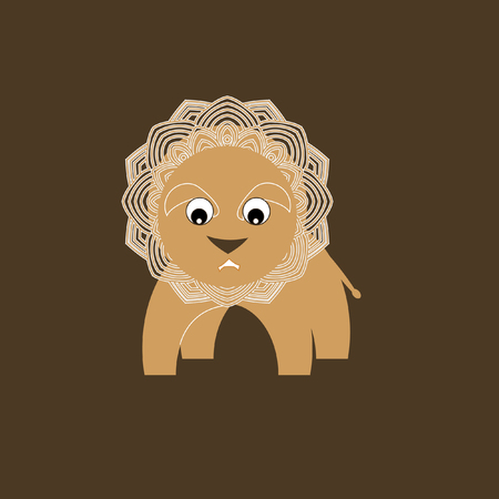 African animals. Little cheerful lion toy. Stylized vector illustration. Lace trim.