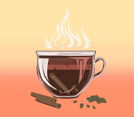 Ilustración de Black herbal tea in a bowl cup of cinnamon and carded cardamom. Аragrant tasty morning drink with beneficial properties for cleansing detoxifying body, for losing weight. Vector flat cozy illustration. - Imagen libre de derechos