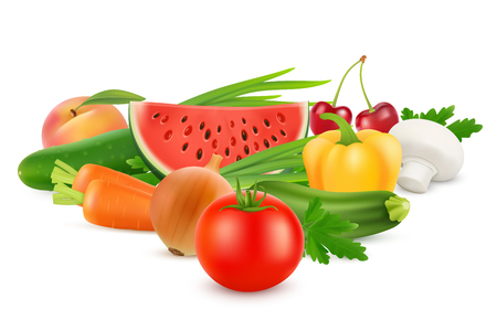 Photo for Fresh Vegetables and Fruits Healthy Food. Vector image - Royalty Free Image