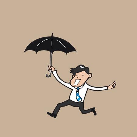 Businessman holding umbrella and running