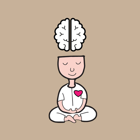 Ilustración de Man meditation for brain and heart harmony - Imagen libre de derechos