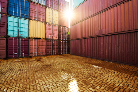 Photo for Industrial Container yard for Logistic Import Export business - Royalty Free Image