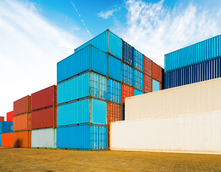 Photo for Industrial container yard of logistics import and export business under the blue sky - Royalty Free Image