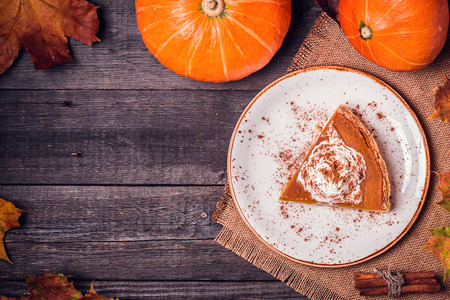 Photo for Homemade Pumpkin Pie for Thanksgiving. Top view. - Royalty Free Image