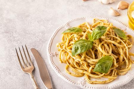 Photo pour Pasta with homemade pesto sauce. Selective focus. - image libre de droit