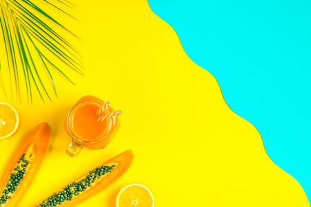 Photo for Smoothies / cocktail / juice on a bright pastel background, summer concept. - Royalty Free Image