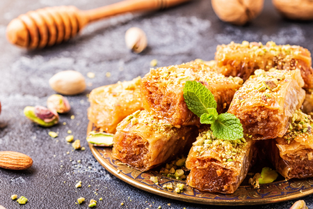 Photo for Homemade baklava with nuts and honey, selective focus. - Royalty Free Image