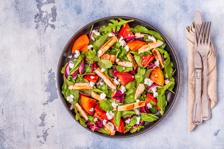 Photo for Fresh salad with chicken breast, top view. - Royalty Free Image