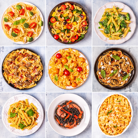 Photo for Collage of various pasta dishes, top view. - Royalty Free Image