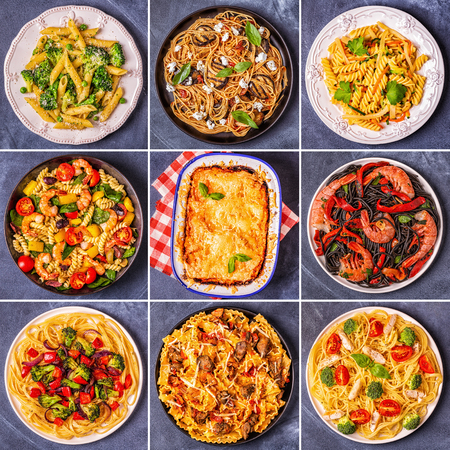 Foto de Collage of various pasta dishes, top view. - Imagen libre de derechos