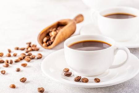 Foto de Concept of morning coffee, coffee break on a light background, selective focus, copy space. - Imagen libre de derechos