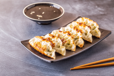 Photo pour Gyoza or dumplings snack with soy sauce, selective focus, copy space. - image libre de droit