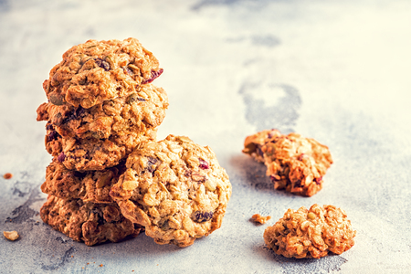Photo for Homemade oatmeal cookies with cranberries, selective focus. - Royalty Free Image