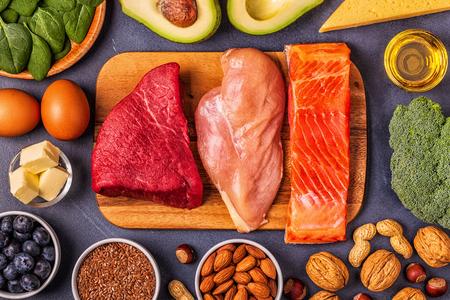 Photo pour Ketogenic diet concept. Balanced low carb, high good fat , healthy food. - image libre de droit
