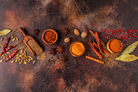 Photo for Spices ingredients for cooking. Spices concept. Top view. - Royalty Free Image