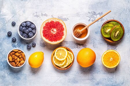 Foto de Healthy products for Immunity boosting and cold remedies, top view. - Imagen libre de derechos