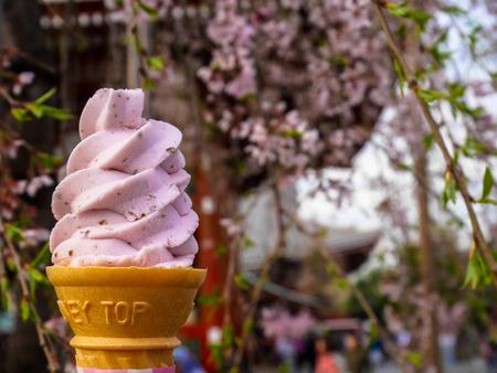 Photo for Enjoying pink sakura ice cream soft serve cone under the sakura tree - Royalty Free Image