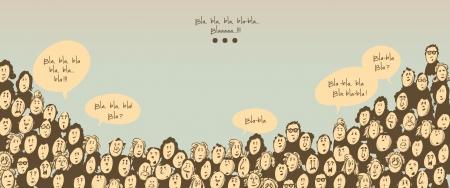 Ilustración de Crowd talking- cartoon characters - Imagen libre de derechos