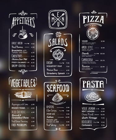 Ilustración de Menu template. White drawing on dark background. Appetizers, vegetables,salads, seafood, pizza, pasta. - Imagen libre de derechos