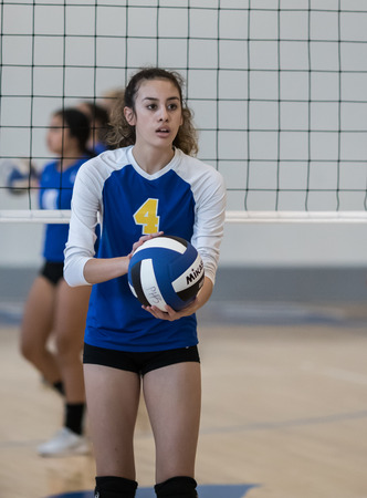 Photo pour Volleyball action with University Prep vs. Pierce in Redding, California. - image libre de droit