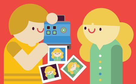 Ilustración de Talking Photos With an Instant Print Camera. - Imagen libre de derechos