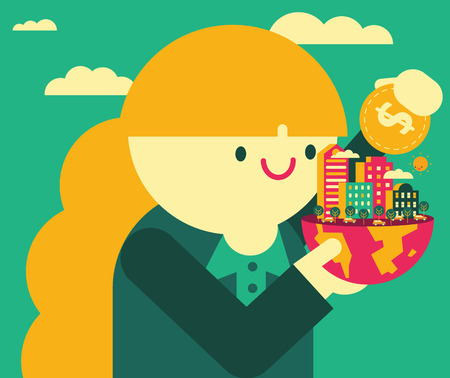 Illustration for The businesswoman holds a globe with the city on top as she puts a coin into it - Royalty Free Image