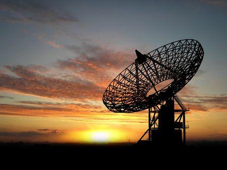 Photo pour Three satelite dishes over sunset   - image libre de droit